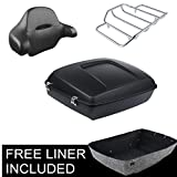 XFMT Chopped Tour Pak Pack Trunk Top Luggage Rack & Backrest Compatible with Harley Touring 14-18