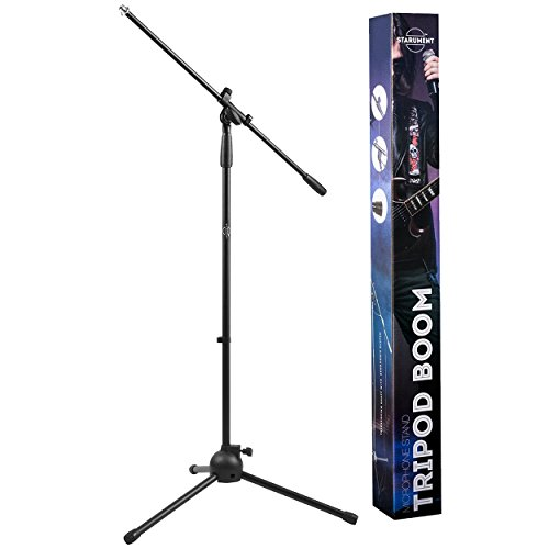 (Tripod Boom Microphone Stand | Perfect for Professional and Aspiring Musicians, Stage Performances, Home Studio Recordings | Lightweight, Robust Professional Microphone Stand | Mic Clip Incl)