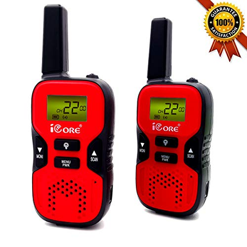 iCore Walkie Talkies for Kids Rechargeable, Toys Talkie Long Range 2 Way Walky Talky Radios Girls (Pair), Childrens Costume 22 Channel , Discover Boys Built in Flash Light (Red)