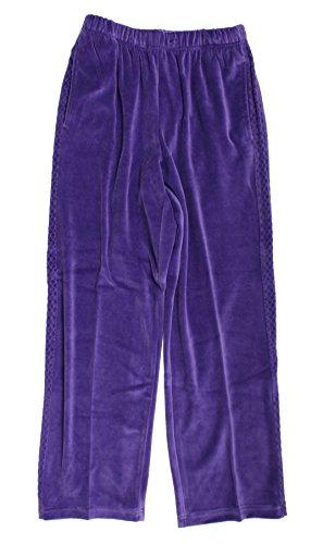 Alfred Dunner Lake Ontario Velour Elastic Waist Pants Violet 22W M