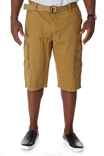 Men's Belted Stacked Cargo Shorts with Hidden Snaps | 12.5