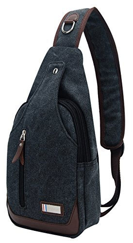 black 4l Canvas B Sling Backpack Sellerfun C Shoulder Casual Chest Black Men Crossbody Bag PwEqWaTzw