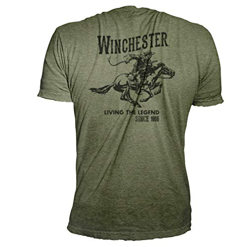Winchester Vintage Rider Graphic Printed Short Sleeve Cotton Men's T-Shirt (X-Large, Military Heather)