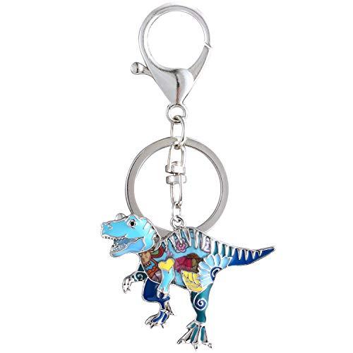 Luckeyui Cute Dinosaur Gift Keychain Women Unique Blue Enamel Tyrannosaurus Rex Keyring by Luckeyui