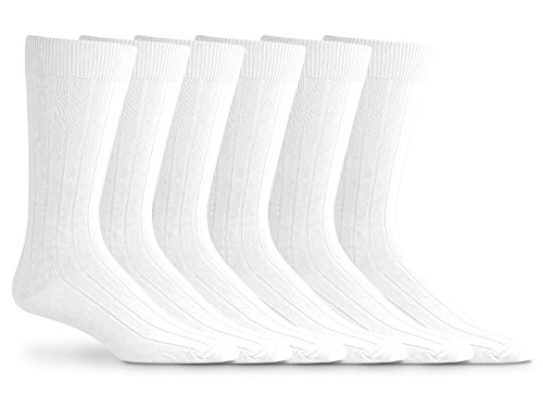 Jefferies Socks Mens Classic Mercerized Cotton Rib Dress Socks 6 Pair Pack (Sock Size 10-13 - Shoe Size 9-13, White) (Classic Rib Dress Sock)