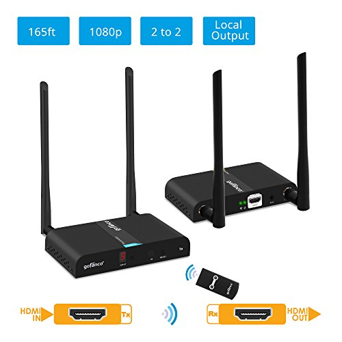 gofanco 1080p Wireless HDMI Extender at 165ft (50m) [Expandable Up to 2x2 Transmitter and Receiver] with HDMI Loopout on TX, Dual Antenna, 5GHz, 10 Channels, IR Extension (HDwirelessMulti)