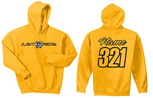 JUST RIDE Motocross Hoodie Sweatshirt Number Plate Custom Personalized Dark Yellow Suzuki Yamaha Husqvarna (Medium, Black) ()