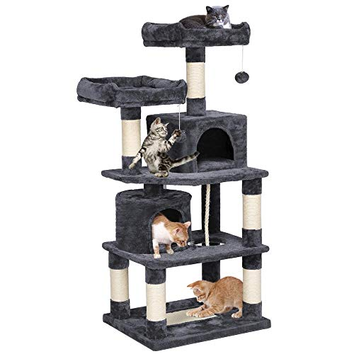 Yaheetech XXL Kratzbaum Kletterbaum für Katzen mit 2 Katzenhäusern 2 Plattformen Hellgrau 145 cm