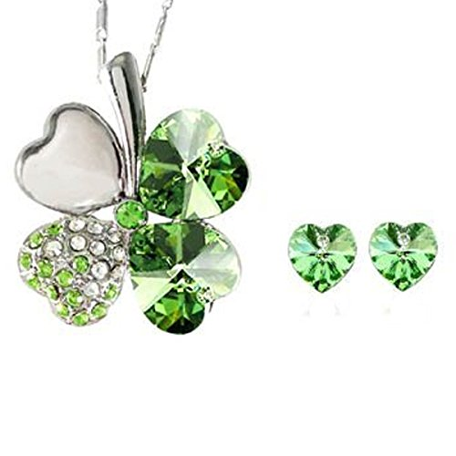 Wrapables Lucky Sweethearts Gold Plated Swarovski Elements Crystal Heart Shaped Four Leaf Clover Pendant Necklace and Earrings Jewelry Set (Sweetheart Shaped Crystal)