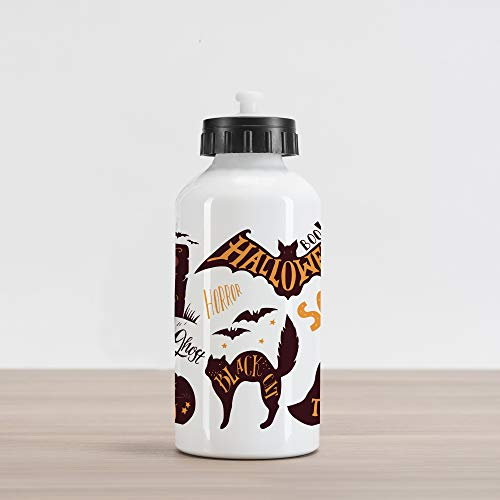 Ambesonne Vintage Halloween Aluminum Water Bottle, Halloween Symbols Trick or Treat Bat Tombstone Ghost Candy Scary, Aluminum Insulated Spill-Proof Travel Sports Water Bottle, Dark Brown Orange]()