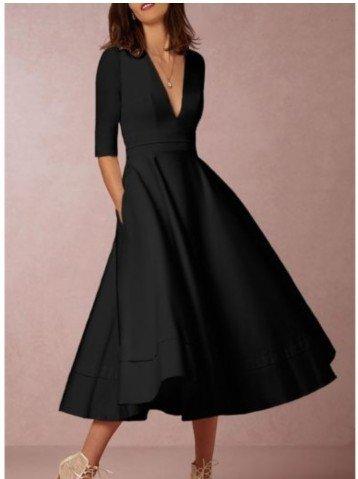 Fiesta Grande V Mujer Negro Para Vestido Fiesta De Mujer Vestido De JIALELE Péndulo Vestidos IgzEqAgw