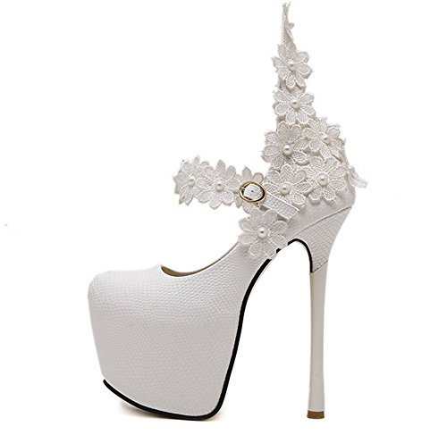 GTVERNH scarpe superficiale le donna solo sexy da scarpe 36 pizzi bocca fibbie 15cm white fiori HHFURxwq