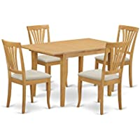 East West Furniture NOAV5-OAK-C 5 Piece Kitchen Dinette Table and 4 Chairs Set