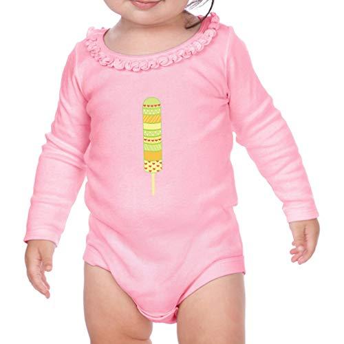 Green Orange Strips Ice Cream Long Sleeve Scoop Neck Girl Sunflower Cotton Baby Ruffle Bodysuit - Soft Pink, 24 ()