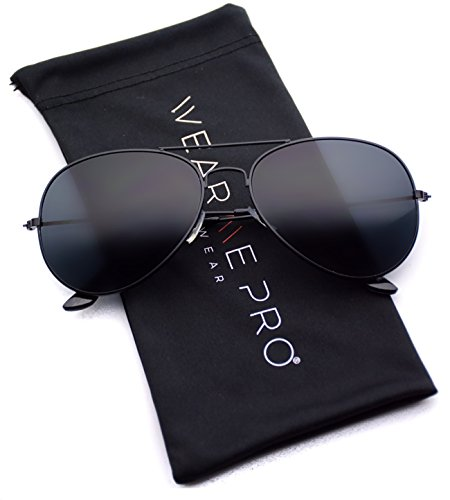 WearMe Pro - Classic Cop Metal Standard Aviator Sunglasses - Dark ()