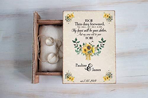 Sunflowers ring box, Personalized wedding box, Save the Date Wedding Ring Box, Ring Bearer Box, Floral Wedding Box, Custom Wedding Box, Sunflowers Keepsake Box, Summer wedding, Wedding Holder ()