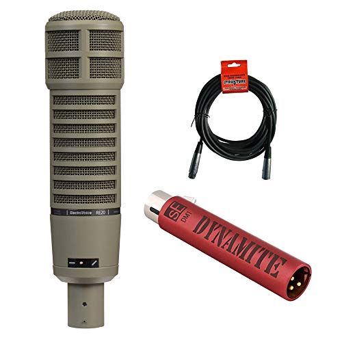 Electro-Voice RE20 Broadcast Announcer Microphone with Variable-D, sE Electronics DM1 Dynamite Mic Preamp & 20' XLR Cable ()