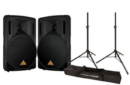 Behringer B215D 2-Way PA Active Speaker System - Set of 2 with Ultimate Support JS-TS50 2 Tripod Stands