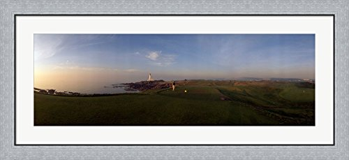 Turnberry Golf Course (Golf course with a lighthouse in the background, Turnberry, South Ayrshire, Scotland by Panoramic Images Framed Art Print Wall Picture, Flat Silver Frame, 44 x 20 inches)