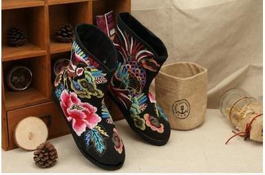 &qq Tradicional China nacional viento/viento/bordado/zapatos/la mujer de/confort/ocio/moda/las cuatro estaciones/otoño/invierno Black