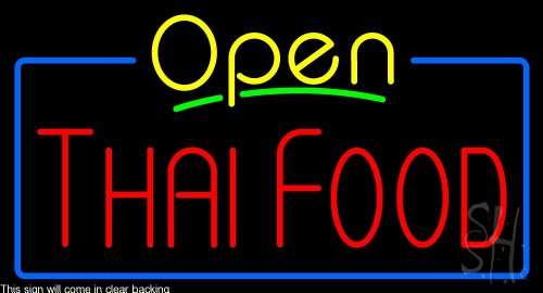 Thai Food Clear Backing Neon Sign 20'' Tall x 37'' Wide by The Sign Store