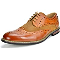 BRUNO MARC NEW YORK Bruno Marc Men's Prince Leather Lined Wing-Tip Dress Oxfords Shoes
