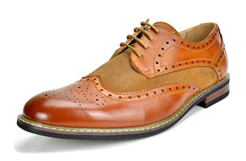 Bruno Marc Men's Prince-09 Brown Classic Modern Oxford Wingtip Lace Dress Shoes - 8.5 M - Belk Shoes