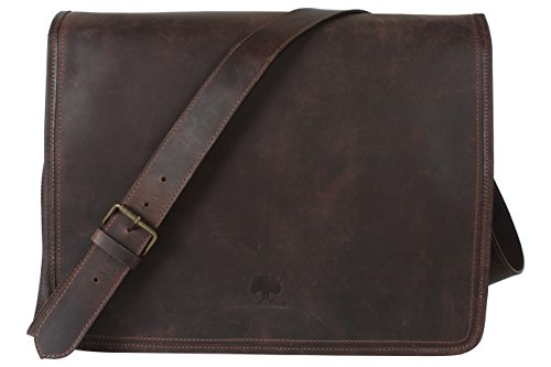 Rustic Town 15 inch Vintage Crossbody Genuine Leather Laptop Messenger Bag by RusticTown