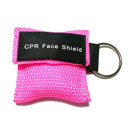 (JaneDream 1PCS CPR Face Shield Keychain Mask Rescue Mask-Emergency CPR Pocket Mask with One-Way Valve Breathing Barrier for First Aid,Cardiac Resuscitation Training Pink)