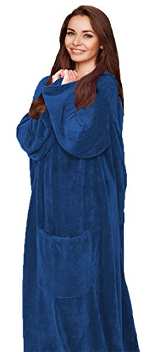 (Cozy Wearable Fleece Throw Blanket with Pocket, Comfy Robe for Men or Women)
