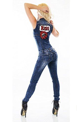 SIMPLY Uni CHIC Jeans Salopette Bleu Bleu Femme 4r4q0wxp