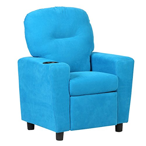 Costzon Kids Recliner Chair Children Reclining Sofa Seat Couch w/Cup Holder (Blue) by Costzon
