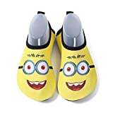 Mabove Kids Swim Water Shoes Non-Slip Quick Dry Barefoot Aqua Pool Socks Shoes for Boys & Girls Toddler (Glasses/Yellow, 26/27EU)