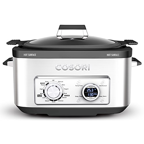 COSORI 6 Qt 11-in-1 Programmable Multi Cooker (Rice Cooker, Slow Cooker, Yogurt Maker, Steamer Etc.), 1350W, Includes Recipe Book, Stainless Steel (CP001-SC)
