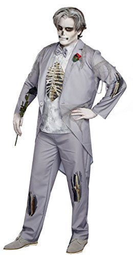 Zombie Couple Costumes (Dreamgirl Men's Got Cold Feet, Grey, L)