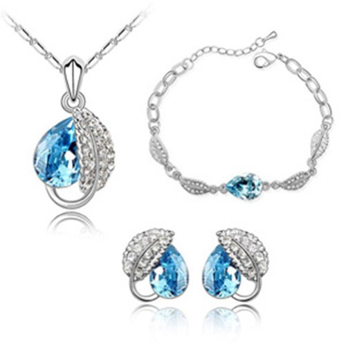 "Mondaynoon Swarovski Elements ""Acacia Leaf"" Women's Jewelry Set ($)"