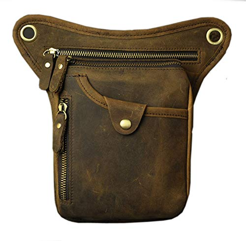 Men'S Genuine Leather Cowhide Drop Leg Fanny Waist Pack Thigh Belt Hip Bum Motorcycle Riding Messenger Cross Body Shoulder Bag,Deepbrown