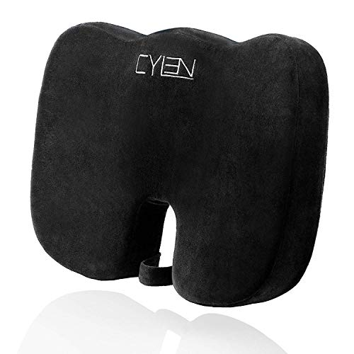 Comfort Cushion - CYLEN -Memory Foam Bamboo Charcoal Infused Ventilated Orthopedic Seat Cushion for Car and Office Chair - Washable & Breathable Cover (Black)