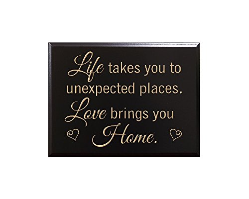 TimberCreekDesign Life takes you to unexpected places. Love brings you home. Decorative Carved Wood Sign Quote, Black -