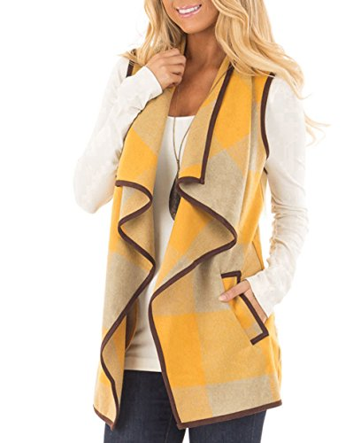 Eunha Women's Lapel Open Front Sleeveless Plaid Vest Cardigan Sweater Coat Yellow S by Eunha