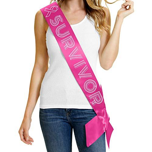 Survivor Pink Satin Sash - Premium Quality Crystal Rhinestone Breast Cancer Ribbon Awareness Walk Supplies - Magenta Sash(Survivor) ()