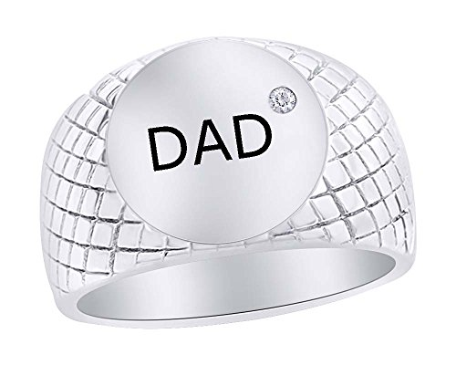 Wishrocks 14K White Gold Over Sterling Silver with Diamond Accent Number One Dad Ring Gift for Father's - Accent Diamond Dad Ring