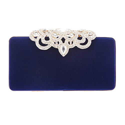 Fawziya Crown Velvet Evening Clutch Purses And Handbags For Women-Blue Powder Blue Flannel
