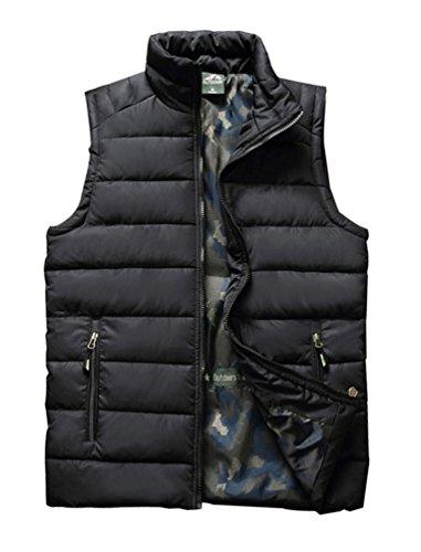 (Vcansion Men's Outdoor Casual Stand Collar Padded Vest Lightweight Down Cotton Jacket Coat Vest Black US L)