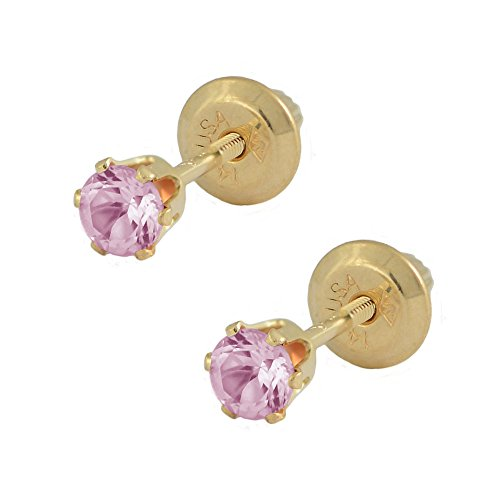 14K Yellow Gold October Birthstone Tourmaline Girls Screw Back Earrings October Birthstone Tourmaline