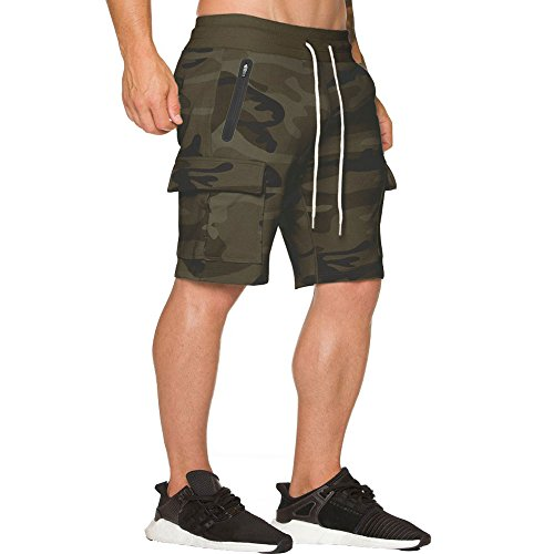 Workout Cargo Shorts Running Training Joggers Short with Zipper Pockets Dcamo L Tag S ()