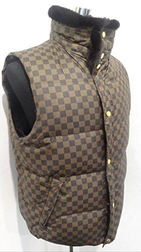 louis vuitton mens damier ebene reversible rabbit fur vest size 56  xxl