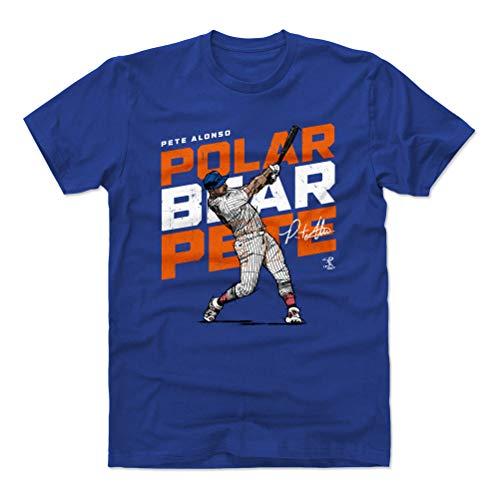 (500 LEVEL Pete Alonso Cotton Shirt (Small, Royal Blue) - New York Baseball Men's Apparel - Pete Alonso Polar Bear O WHT)