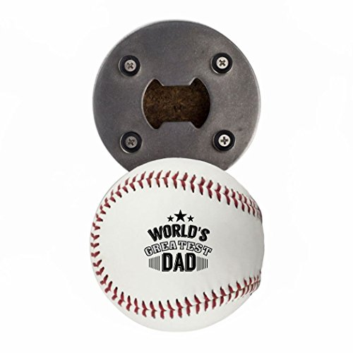 - Father's Day Bottle Opener, Made from a real Baseball, World's Greatest Dad, Cap Catcher, Fridge Magnet