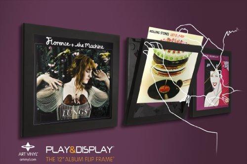 Play & Display Vinyl Record Display Frame, Displays Albums Covers, 12.5x12.5, Black, Set of 3